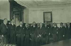 Inauguración el 6 de mayo de 1922 de la nueva sede social de Banesto en la madrileña C/ de Alcalá, con la presencia del rey Alfonso XIII.